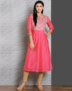 Pink color cotton chanderi kurta with gota work