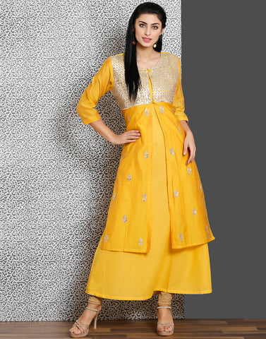 Yellow color double layer cotton chanderi kurti with gota work