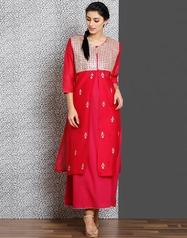 Rani  color double layer cotton chanderi kurti with gota work