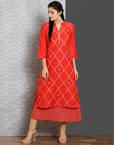 Coral color cotton chanderi kurti with double layer