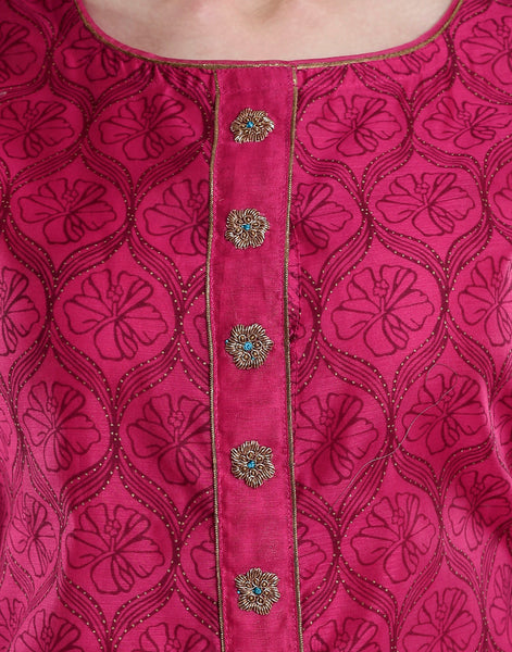 Meena Bazaar: Cotton chanderi with golden embroidery.