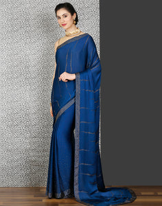Meena Bazaar: Satin saree with stone work in blue colour