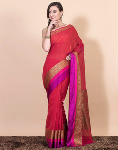 Meena Bazaar: RED colour cotton Saree with Running Blouse