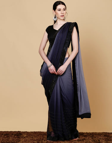 Meena Bazaar: Chiffon embroidered grey saree