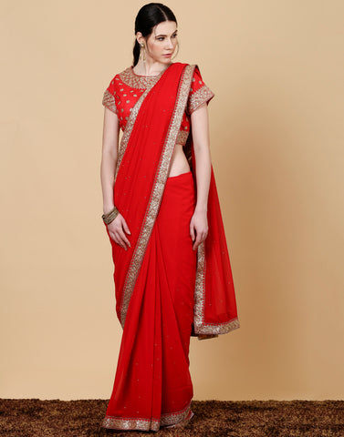 Meena Bazaar: Georgette red saree with embroidered work