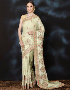 Embroidered Saitan saree with thread work