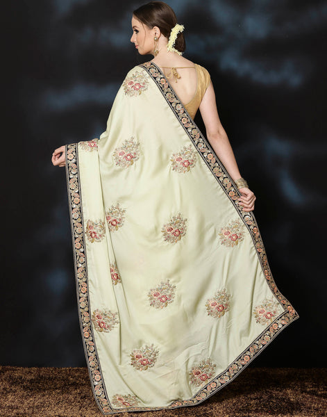 Embroidered saree with thread work