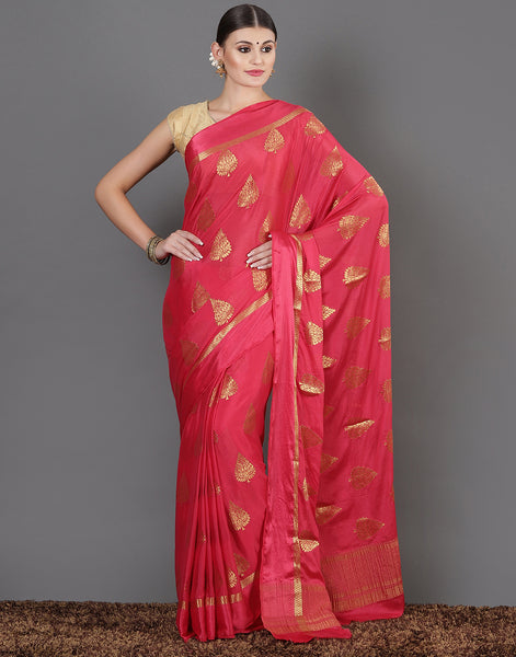 Hot Pink Plain Woven saree