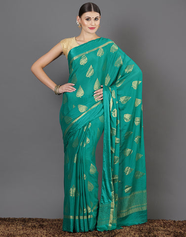 Green Plain Woven saree