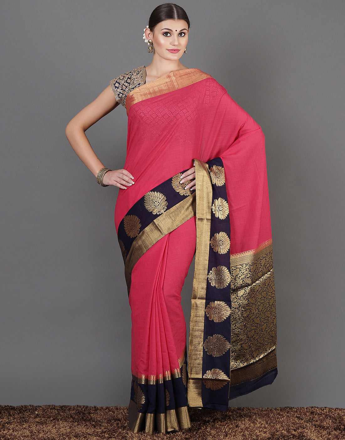 Hot Pink Art Handloom Woven Saree
