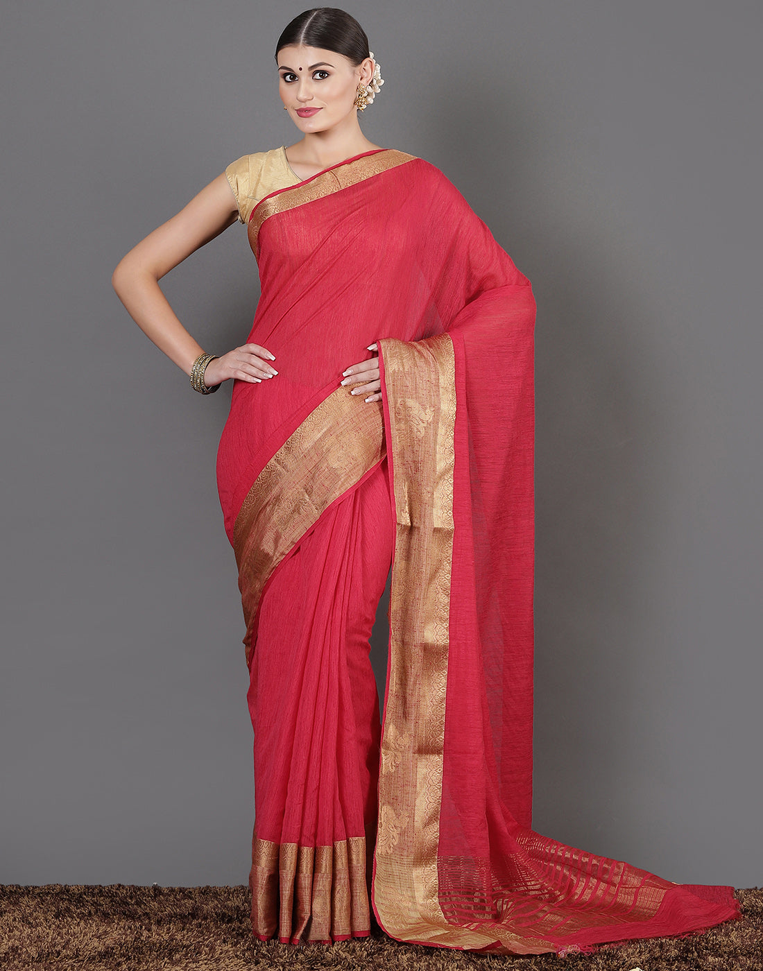 Hot Pink Handloom Woven Saree