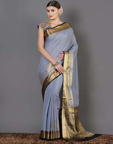 Grey Art Handloom Woven Saree