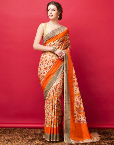 Beige Orange Printed Saree