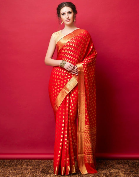 Red Plain Art Chiffon Woven Saree