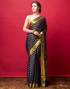 Navy Blue Plain Art Chiffon Woven Saree