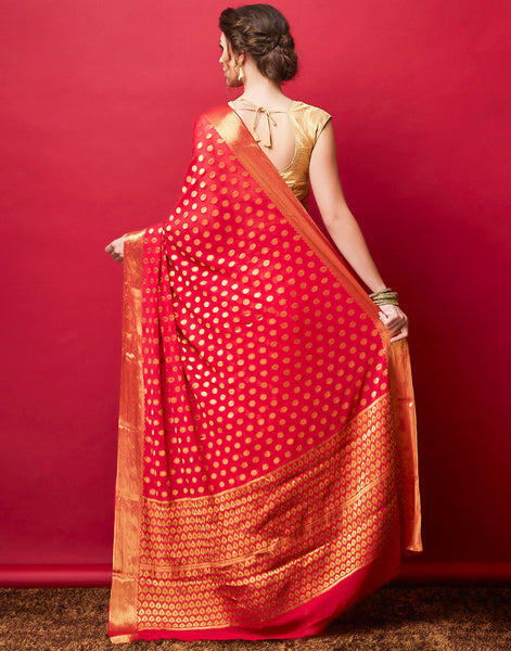 Hot Pink Plain Art Chiffon Woven Saree
