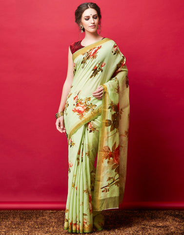 Pista Green Cotton Chanderi Printed Saree