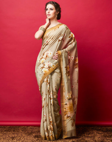 Grey Cotton Chanderi Printed Saree
