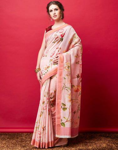 Pink Cotton Chanderi Printed Saree