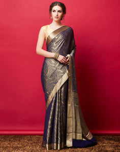 Navy Blue Plain Georgette Woven Saree
