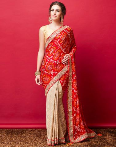 Beige Red Georgette Embroidered Saree