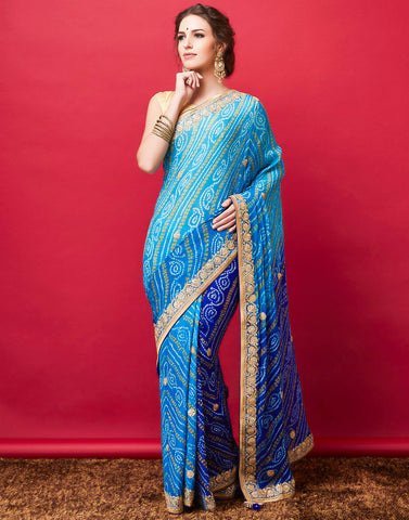 Blue Firozee Georgette Embroidered Saree