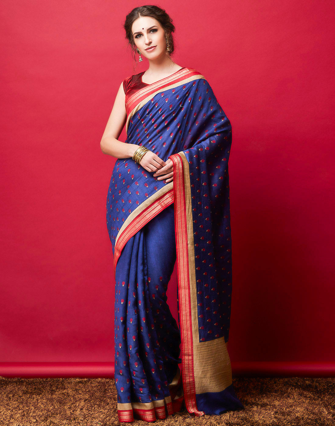 Navy Blue Plain Saree