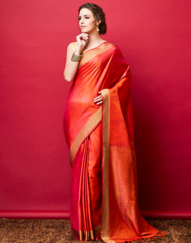 Orange Handloom Woven Saree
