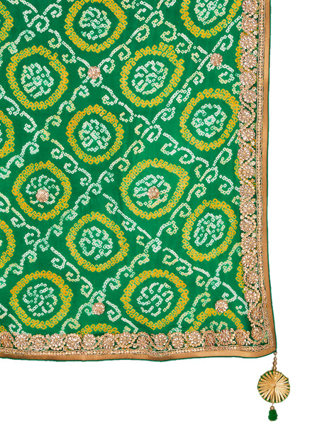 Rama Green Georgette Embroidered Saree