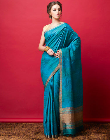 Lake Blue Plain Saree