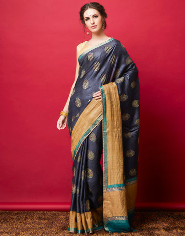 Grey Plain Saree