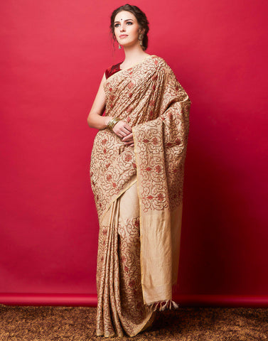 Beige Plain Saree