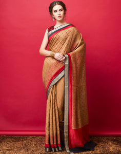 Beige Red Plain Saree