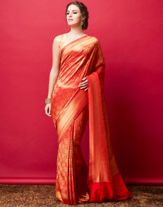 Red Art Handloom Woven Saree