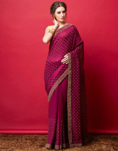 Wine Embroidered Saree