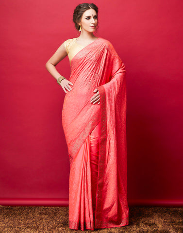 Pink Art Handloom Embroidered Saree