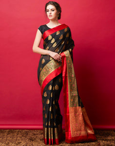 Black Cotton Woven Saree