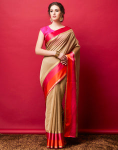 Beige Cotton Woven Saree