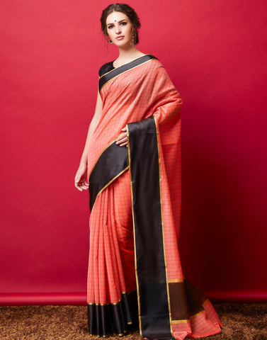 Peach Cotton Woven Saree