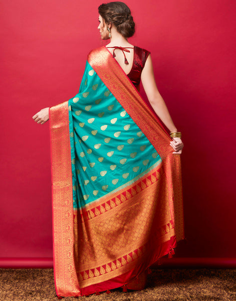 Lake Blue Art Handloom Woven Saree