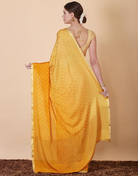 Mustard Plain Crepe Saree