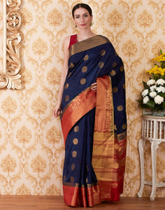 Navy Blue Art Handloom Woven Saree