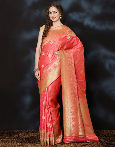 Meena Bazaar: PEACH color banarasi woven saree