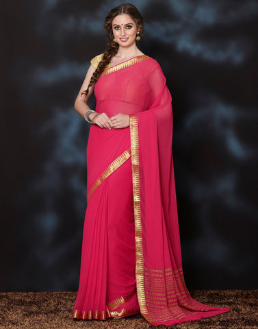 Meena Bazaar: Plain Chiffon Saree With Zari Border
