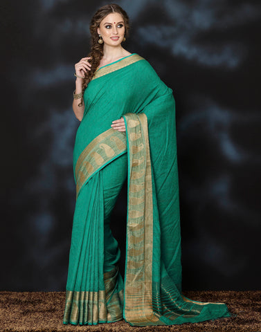 Meena bazaar: Hand loom saree with Zari Border