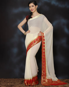 Meena Bazaar: Woven saree with sawaroski work