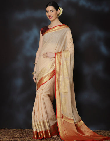 Woven saree with golden temple and paisley border.