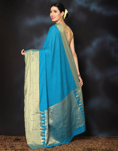 Woven saree with plain golden border