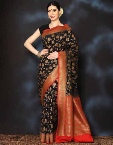 Meena Bazaar:  Woven saree with golden floral jaal