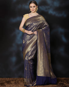 Meena Bazaar:  Woven saree with self-design floral jaal